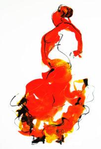 Spaanse dans aquarel op papier