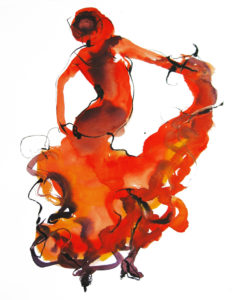 Spaanse dans aquarel/inkt op papier