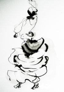 Spaanse dans inkt op pa;pier