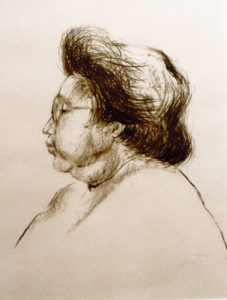 Portret vrouw houtskool