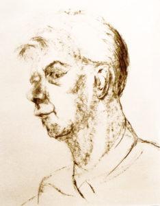 Portret man houtskool