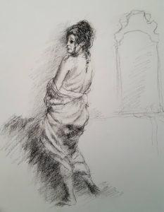 Vrouw met doek  conte
